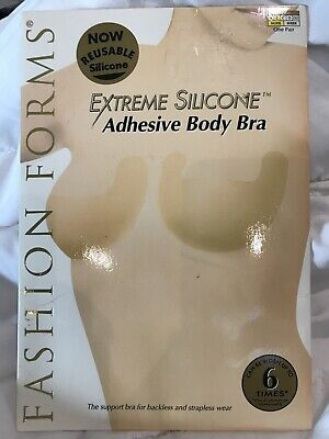 NIP Fashion Forms Extreme Silicone Adhesive Body Bra Cup Size B Nude Reusable Fashion Forms Adhesive Bra