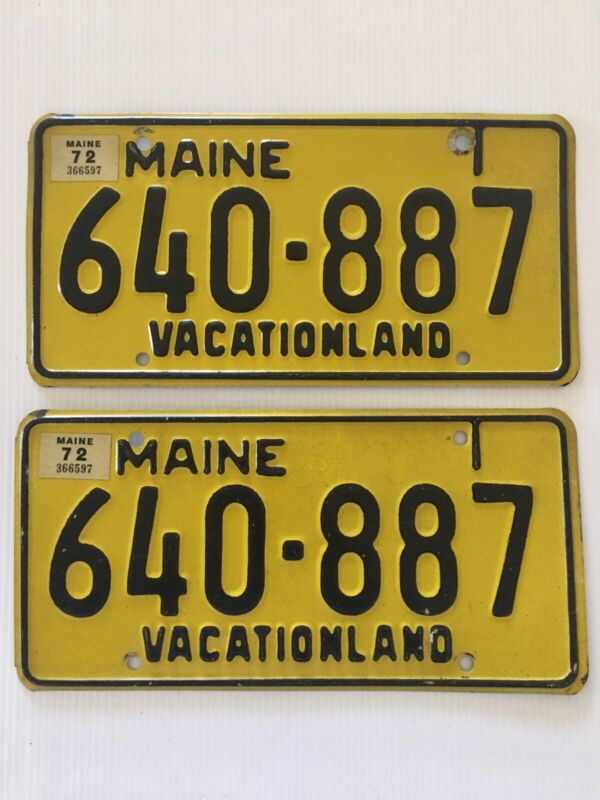 Maine License Plate Pair Vintage 1972 Year Stickers 640-887 Vacationland