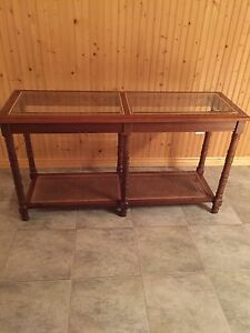 2 glass top tables $ 65
