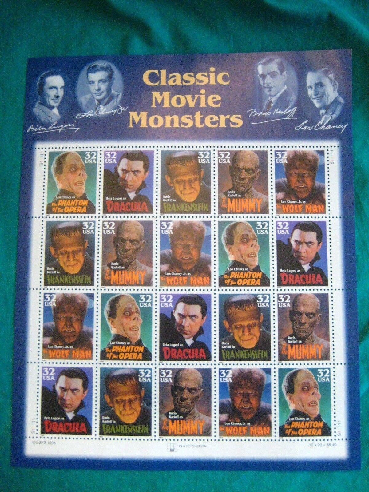 Купить 32c Classic Movie Monsters MNH Sheet of 20-Scott# 3168-72