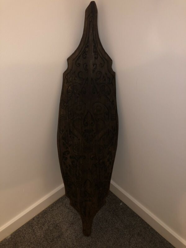 Wood Carved African Tribal Shield