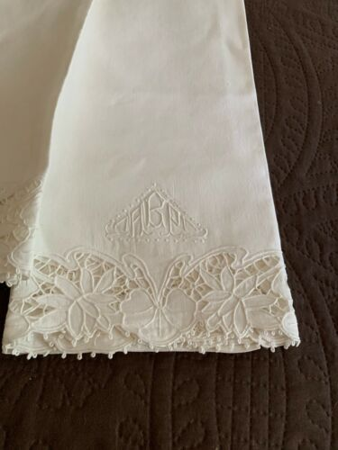 Beautiful Pair of Large Antique Linen Pillowcases Cut Work Embroidery
