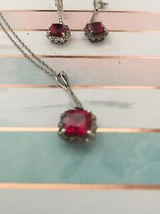 GORGEOUS RUBY EARRINGS AND NECKLACE SET!!!