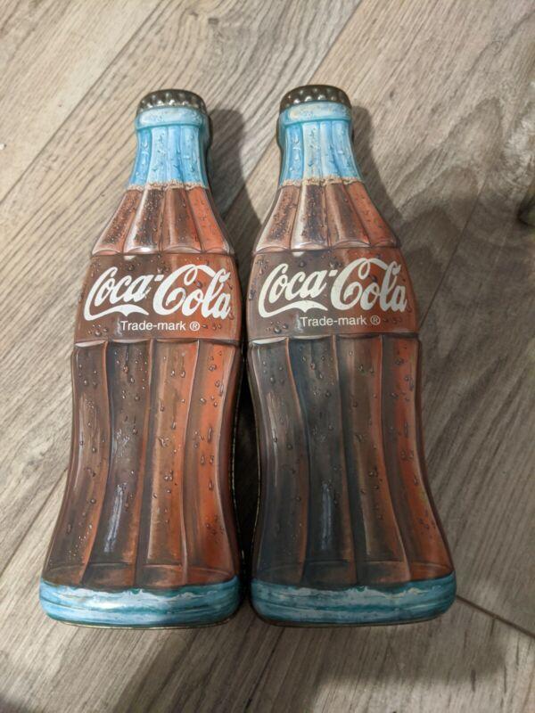 2 Coca Cola Coke Trademark Brand Bottle Shaped Tin Box 1996
