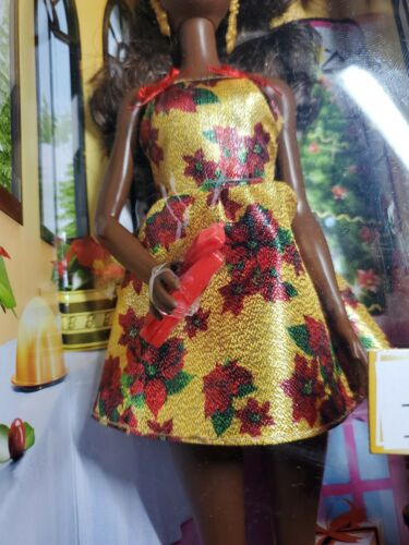 New Barbie Doll Holiday Look ETHNIC CHRISTMAS Doll African American FTF79 2017 - $31.96