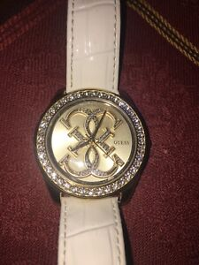 GUESS watch with genuine leather strap