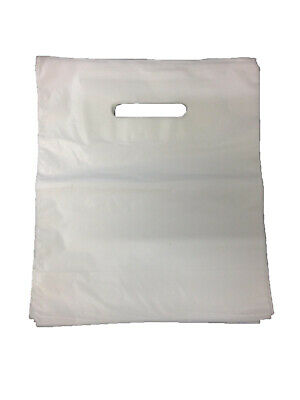 1000 White Patch Handle Carrier Gift Retail Shopping Plastic Bags 14x14x4 - B3