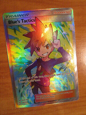 NM FULL ART Pokemon BLUE'S TACTICS Card UNIFIED MINDS Set 231/236 Rare Trainer