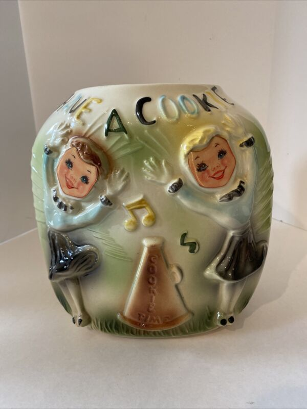Rare Vintage American Bisque Cheerleader Flasher Cookie Jar 1940-50 NO LID
