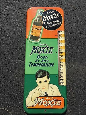 VERY RARE EARLY Vintage MOXIE Bottle Soda Advertising Sign Metal Thermometer