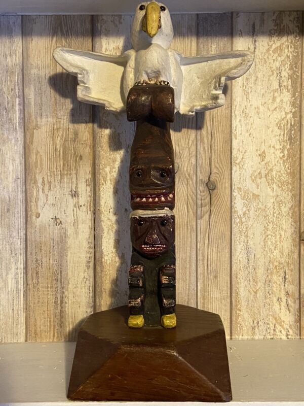 """Vintage Folk Art Native American Carved Totem Pole With Whale Glass Eyes 14"""""""