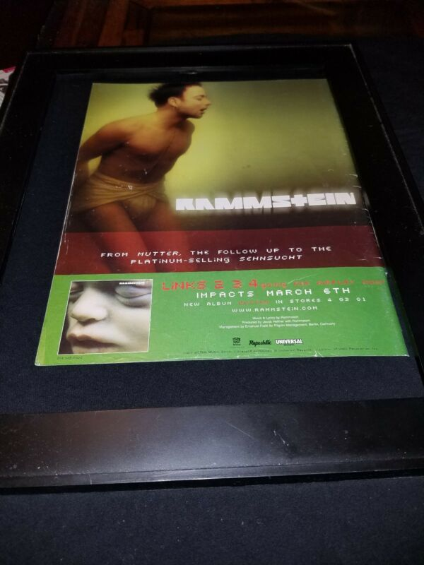 Rammstein Links 2-3-4 Rare Original Radio Promo Poster Ad Framed!