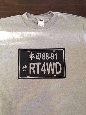 88-91 Honda Civic Wagon Real Time RT-4WD license plate rare t-shirt japan rare - Honda Civic 4wd
