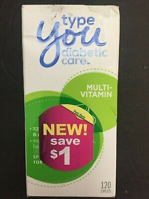 Type You Diabetic Care Multivitamin Dietary Supplement 120 Caplets Exp: 3/20 NEW