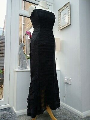 BNWT M&S Per Una Black Ruffle Evening Dress Size 8L RRP £79.50 (D90)