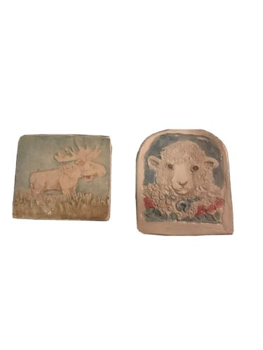 Vtg 90s Ceramic Pins By Artist L Neely Brooch Lamb Moose Christian Cottage Core - $4.99