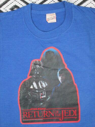 Vintage RETURN OF THE JEDI T shirt 50/50 Blue Screen Stars Star Wars Youth L