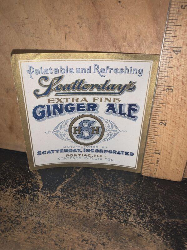 Vintage Scatterday Ginger Ale -Paper Label- Pontiac Illinois