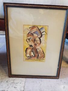 ARTIST-SIGNED-GEORGE-HABERGRITZ-1908-1998-EAST-AFRICA-039-55-ABSTRACT-DRAWING-NR