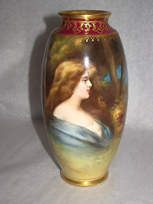 Antique Royal bonn germany artist signed vase beautiful young lady's profile