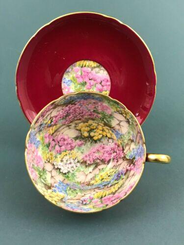 Shelley Rock Garden Burgundy Red #213407/416 Henley Tea Cup Saucer Gold Trim