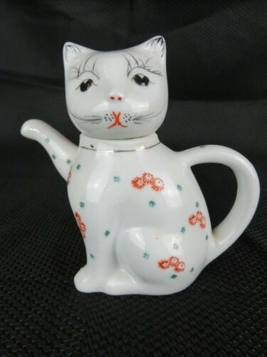 Vintage Cat Teapot Creamer Alberbe Hand Painted Porcelain with Glaze No Flaws