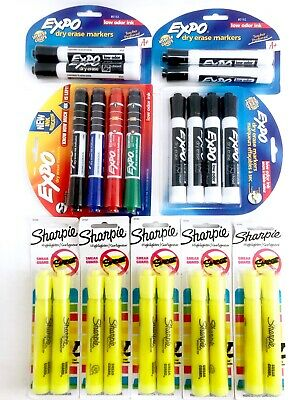 Bulk Lot 22 Expo Black Dry Erase Markers Red Green Sharpie Yellow Highlighters