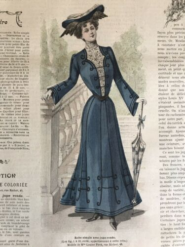 French MODE ILLUSTREE SEWING PATTERN Sept 21 ,1902 ROBE SIMPLE , HAT