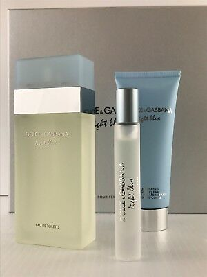 LIGHT BLUE DOLCE & GABBANA 3PC Gift Set WOMEN EDT SPRAY 3.3 OZ + CREAM + MINI