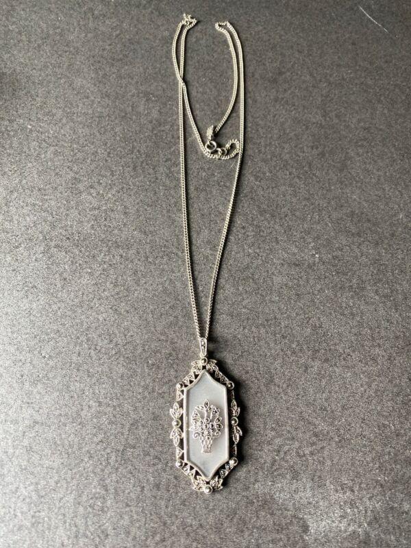 Vintage Sterling Silver Art Deco Camphor Glass Flower Pendant Necklace