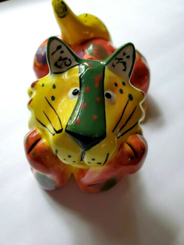 Cat DRACOS By GANZ Colorful Ceramic Lion Coin Bank Adorable Orange Pre Owned