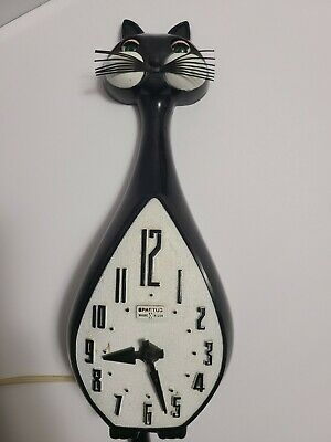 Vintage Spartus Cat Wall Clock Parts or Repair Project