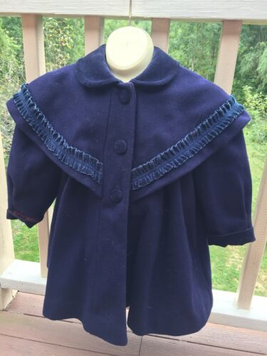 Vintage Rothschild Girls Navy Wool and Velvet Dress Coat Size 3