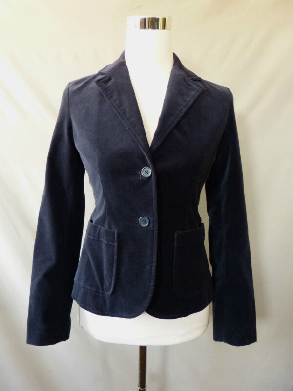 Gap Womens Blazer Blue Velvet Boyfriend Two Button Long Sleeve Jacket Size 0