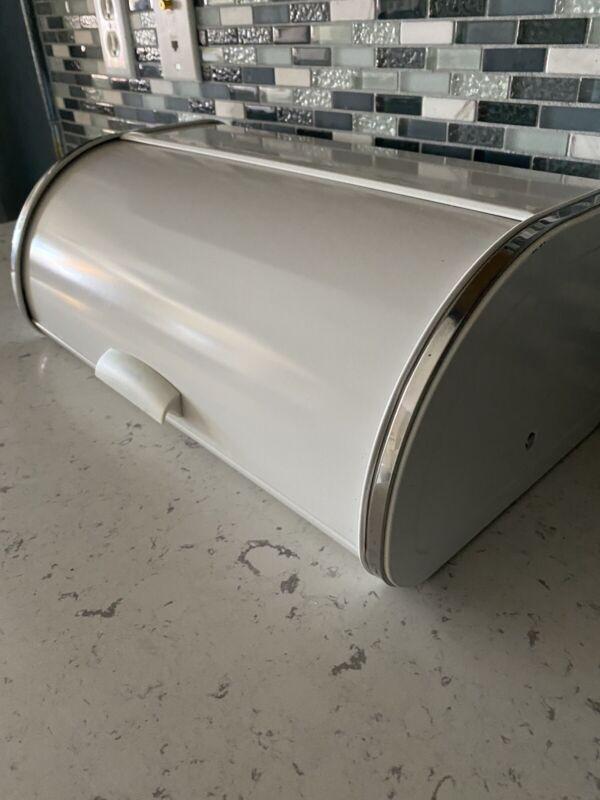 Vintage BRABANTIA White Metal & Chrome Roll Top Bread Box Belgium Countertop