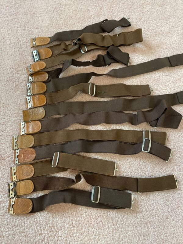 Vintage BSA Boy Scouts Elastic Garters 13 Total 6 Pair Brown With Light Leather