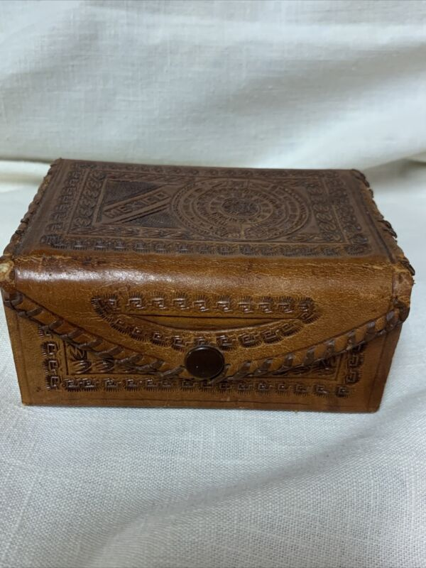 Vintage Hand Tooled Leather Jewelry Trinket Box From Mexico W/ Myan Design