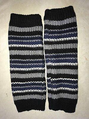 teen girl women KNIT ARM WARMERS knit dark blue black gray white STRIPE SUPER @@ - Dark Black Teens