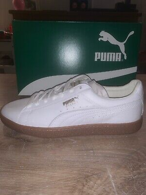 Mens Puma Basket Classic Gum Delux Trainers White Uk Size 8 Eur 42 New In Box