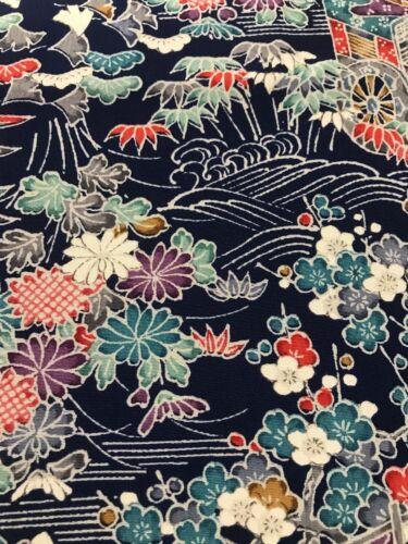 @@ 118 cmx 36 cm Japanese kimono silk fabric/ smooth crepe/ navy blue D58
