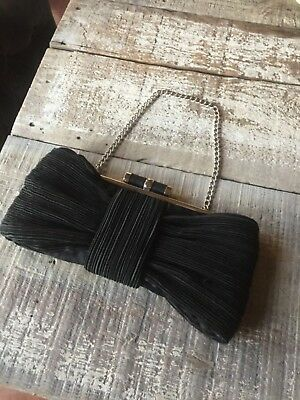 euc Evening Handbag Clutch Black Satin Silver Chain Strap Pleated bow large fun
