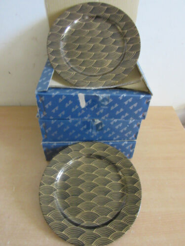 """12 Fitz & Floyd F&F """"Waves"""" #401 Japan 9 1/8"""" porcelain Luncheon plates w/ boxes"""