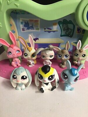 Littlest Pet Shop Lot Of 8 Bunnies Authentic LPS USED