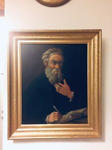 OLD MAN WRITER w BEARD ORIGINAL VINTAGE OUL ON CANVAS PAINTING
