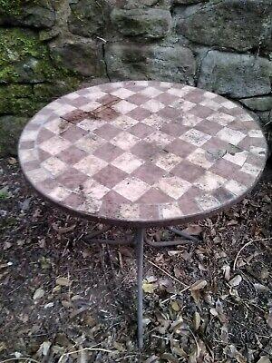 Circular metal Garden Table with mosiac pattern