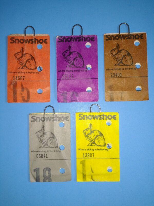 5 VINTAGE 1980s SNOWSHOE (WEST VA.) SKI RESORT LIFT TICKETS-EXCELLENT CONDITION
