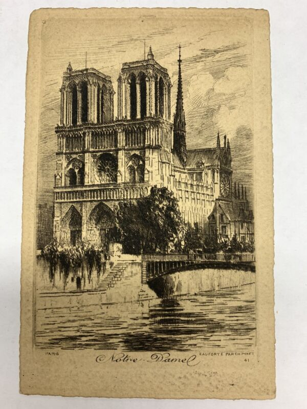 VINTAGE ETCHINGS OF NOTRE DAME CATHEDRAL