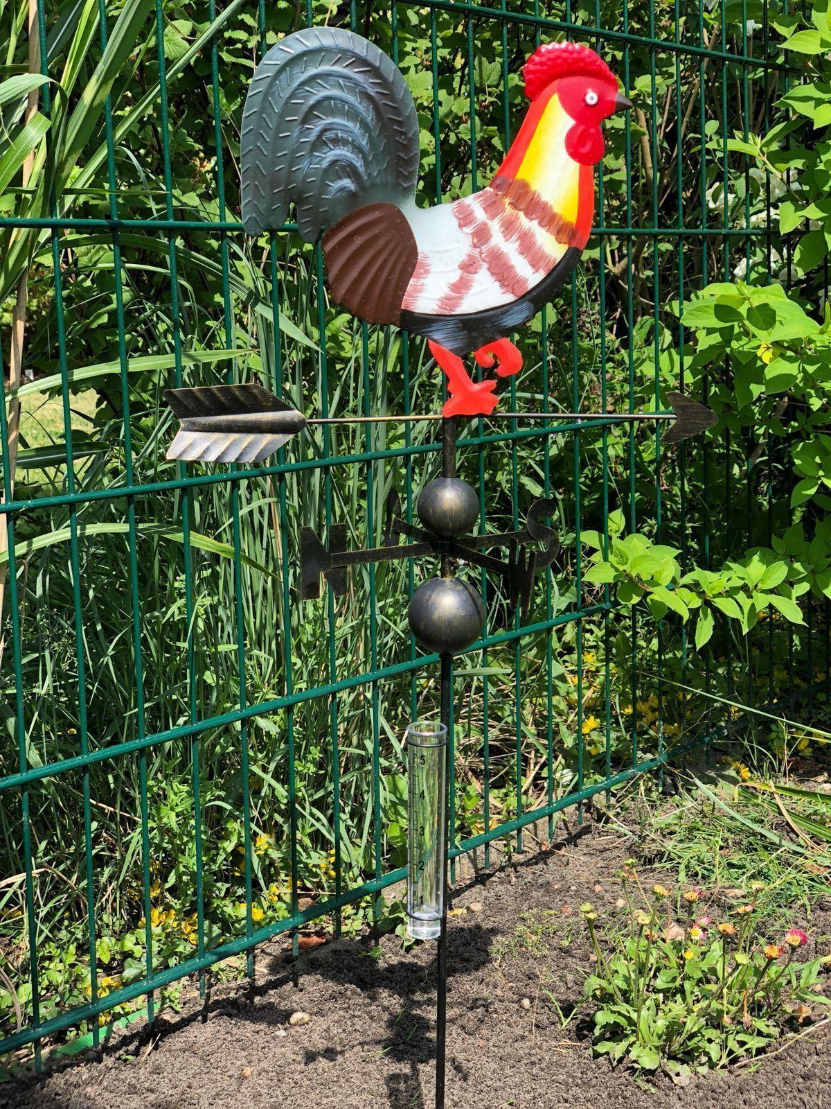Farbiger Metall Wetterhahn auf Stab mit Windmesser Regenmesser Windrad Windspiel
