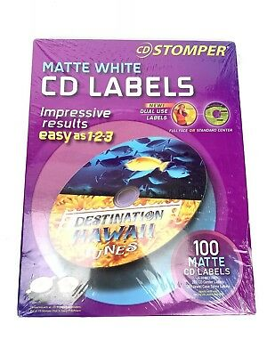 Cd Stomper White Cd Labels 100 Matte Avery Brand New Sealed