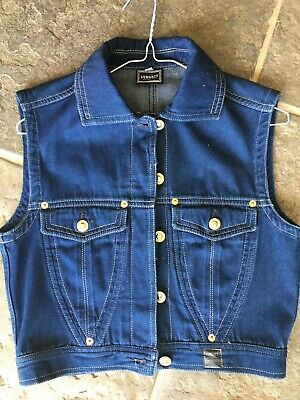 VERSACE Denim VINTAGE Jacket Blue Sleeveless Size S or 10 Authentic